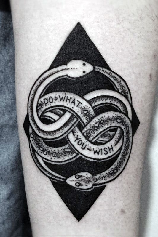 Black Ink Ouroboros Mens Dotwork Forearm Tattoo