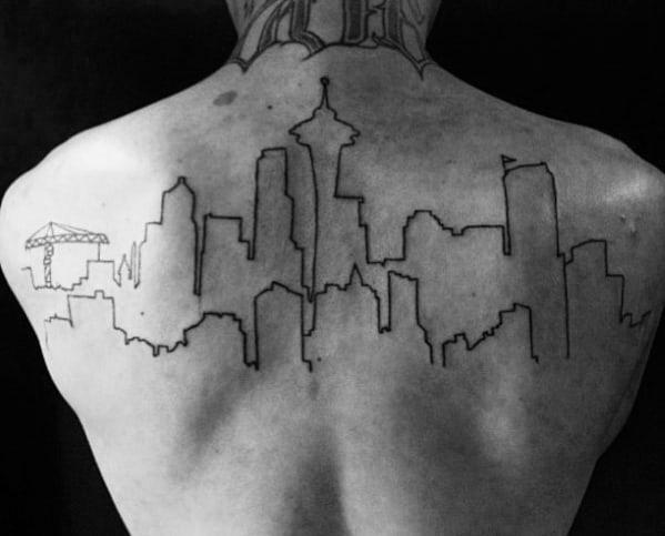 Black Ink Outlien Guys Upper Back Skyline City Building Tattoos