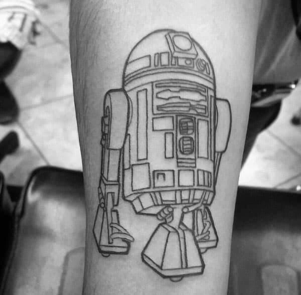 Black Ink Outlien Mens Rd2d Tattoos