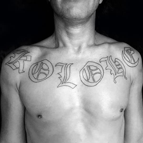 Black Ink Outlien Old English Letters Mens Chest Tattoos