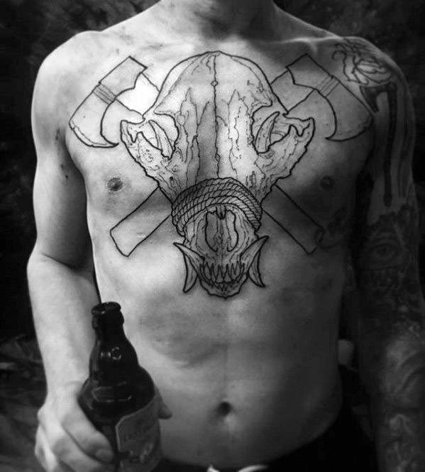 Black Ink Outline Axes With Sick Wolf Skull Male Chest Tattoo Ideas