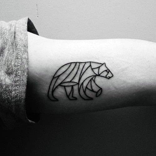 a878466c4 Black Ink Outline Bear Inner Arm Bicep Mens Tattoo Ideas With Small  Geometric Design
