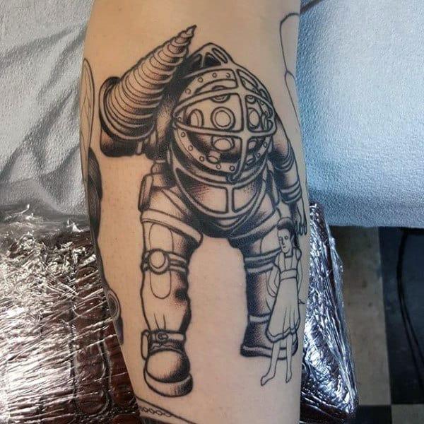 Black Ink Outline Bioshock Male Tattoo On Arm