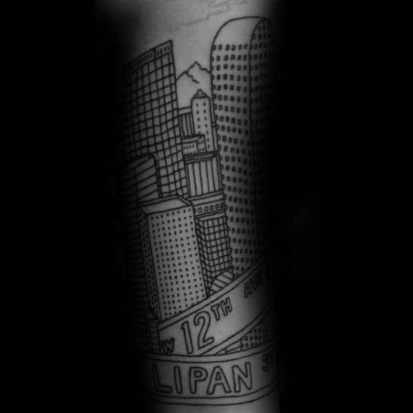 Black Ink Outline Buildings With Street Signs Mens Forearm Tattoos
