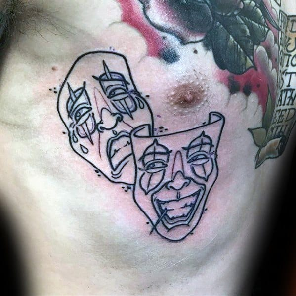 Black Ink Outline Chest Drama Mask Tattoo Ideas On Guys