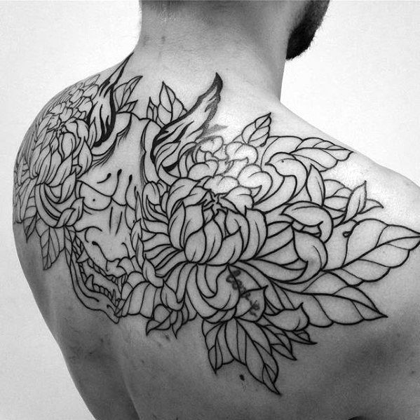 Black Ink Outline Cool Mens Demon Mask Flower Upper Back Tattoo