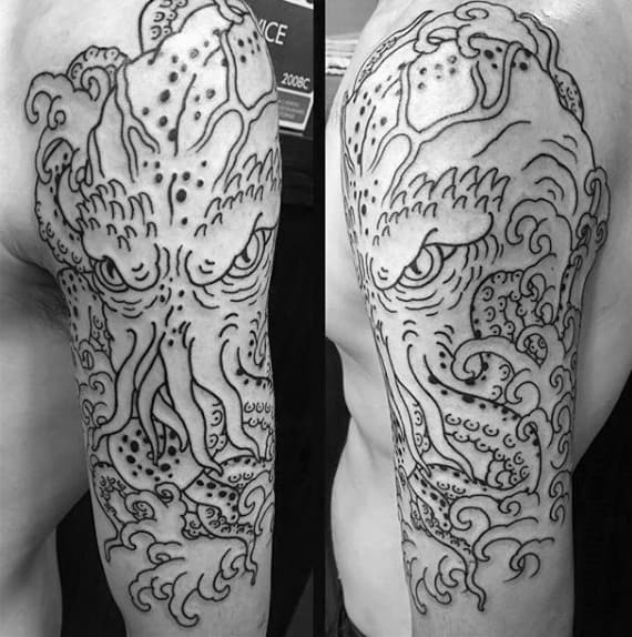 Black Ink Outline Cthulhu With Ocean Waves Mens Half Sleeve Tattoo Ideas