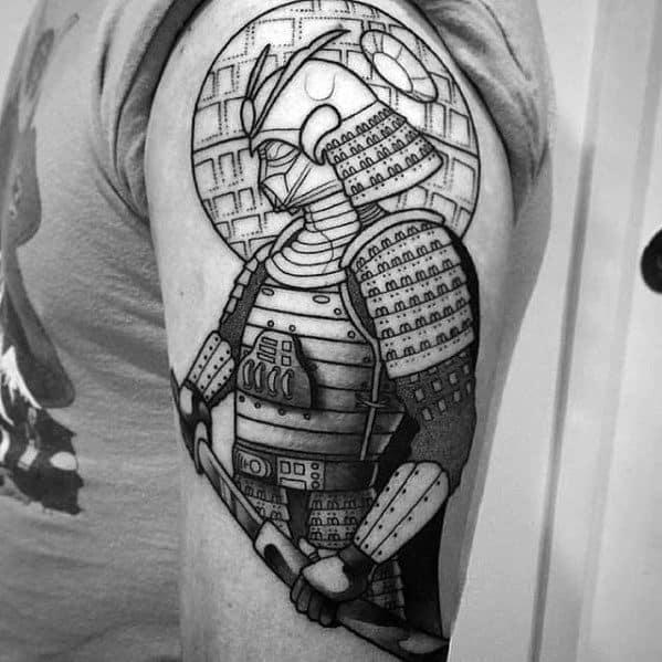 Black Ink Outline Darth Vader Arm Masculine Death Star Tattoos For Men