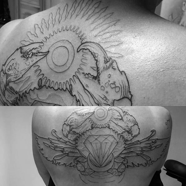 Black Ink Outline Diamond Crab Mens Upper Back Tattoos