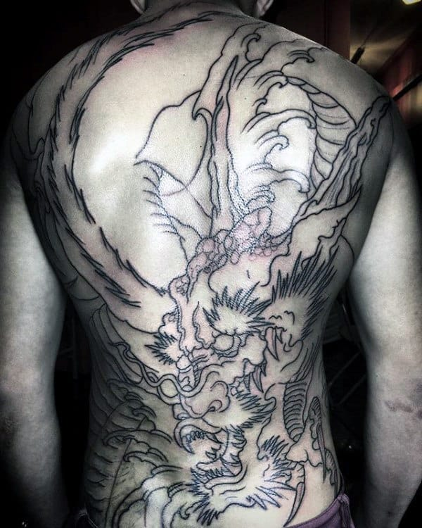 Black Ink Outline Dragon Back Tattoos For Men
