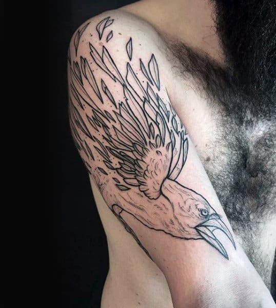 Black Ink Outline Feathers Crow Tattoo For Men On Upper Arm
