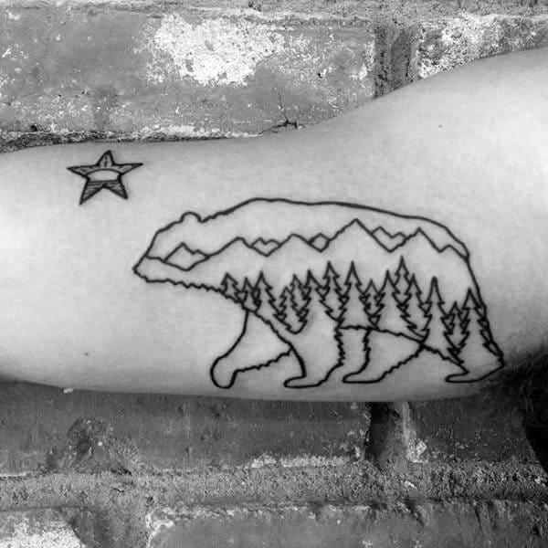 Black Ink Outline Forest California Bear Mens Inner Arm Tattoo Ideas
