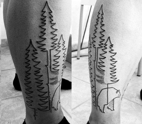 Black Ink Outline Forest With Bear Tattoos For Men