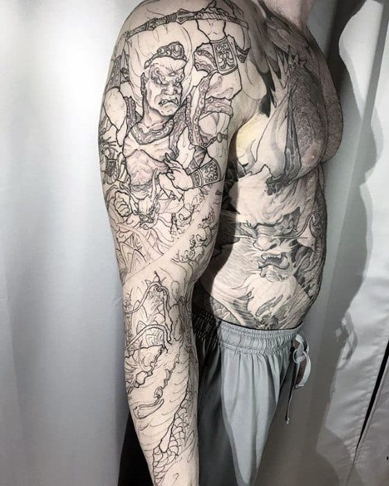 Black Ink Outline Full Arm Sleeve Fudo Myoo Tattoo Design On Man
