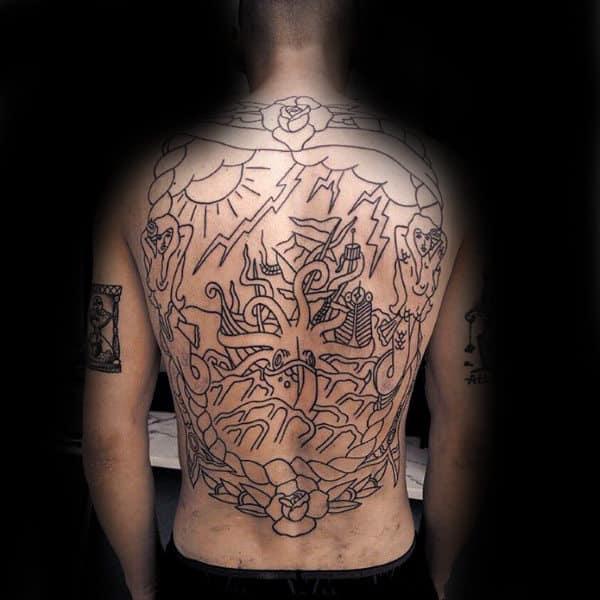 Black Ink Outline Full Kraken Male Back Tattoos With Sailing Ship