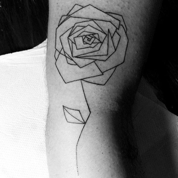 Black Ink Outline Geometric Rose Mens Tattoos