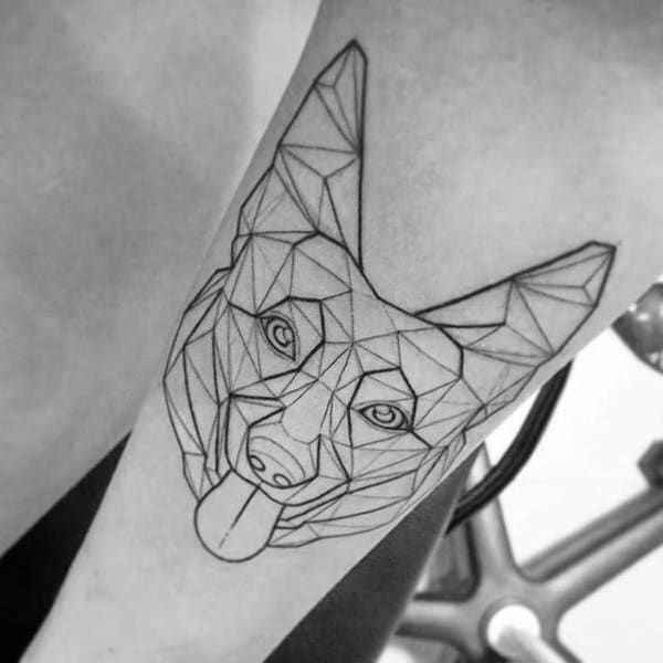 Black Ink Outline German Shepherd Geometric Mens Tattoos On Arm