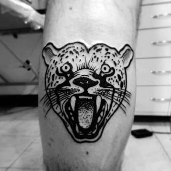 Black Ink Outline Guys Cheetah Leg Calf Tattoos
