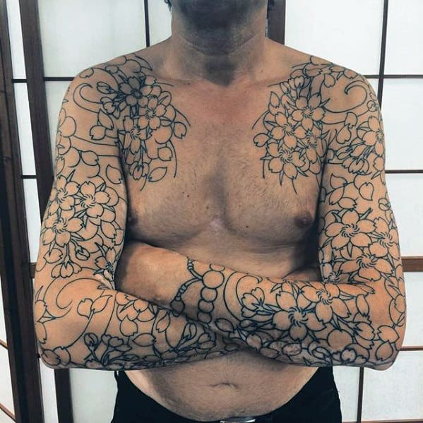 Black Ink Outline Guys Japanese Flower Sleeve Tattoos