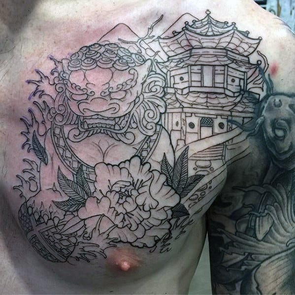 Black Ink Outline Guys Japanese Temple Fu Dog Tattoo On Chest