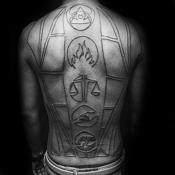 Black Ink Outline Guys Shapes Circles Cool Back Tattoo