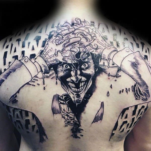 Black Ink Outline Guys Sketched Joker Full Back Tattoos