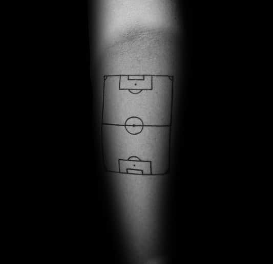 Black Ink Outline Guys Soccer Field Diagram Tattoo On Inner Forearms