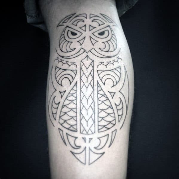 Black Ink Outline Guys Tribal Owl Leg Tattoo Design Inspiration