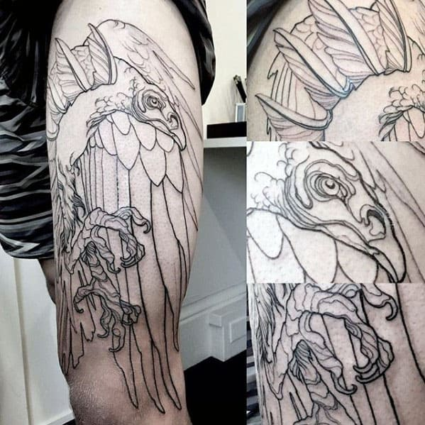 Black Ink Outline Guys Vulture Thigh Tattoo