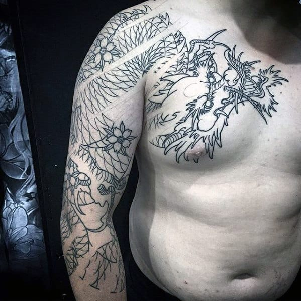 Black Ink Outline Japanese Dragon Guys Arm And Chest Tattoos