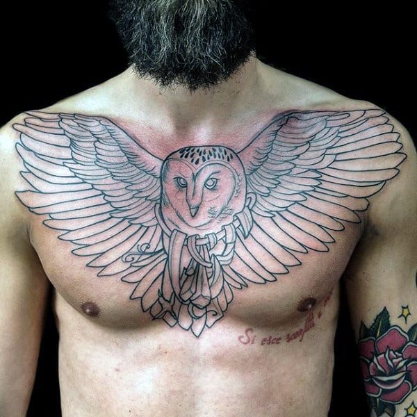 Black Ink Outline Male Barn Owl Tattoo On Chest