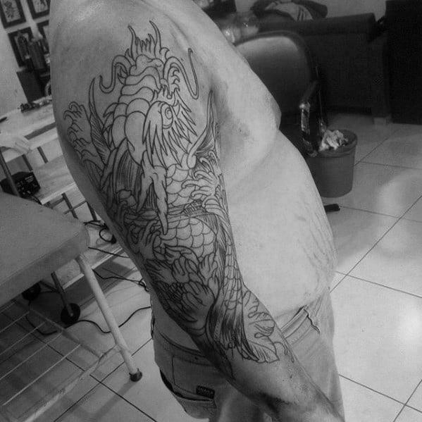 Black Ink Outline Male Koi Dragon Half Sleeve Tattoo