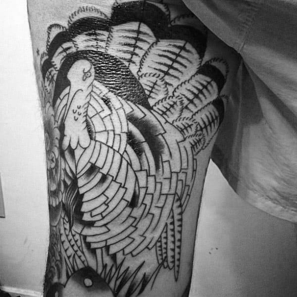 Black Ink Outline Male Turkey Thigh Tattoos