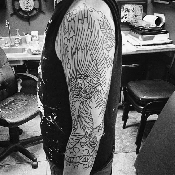 Black Ink Outline Manly Guys Griffin Half Sleeve Tattoos
