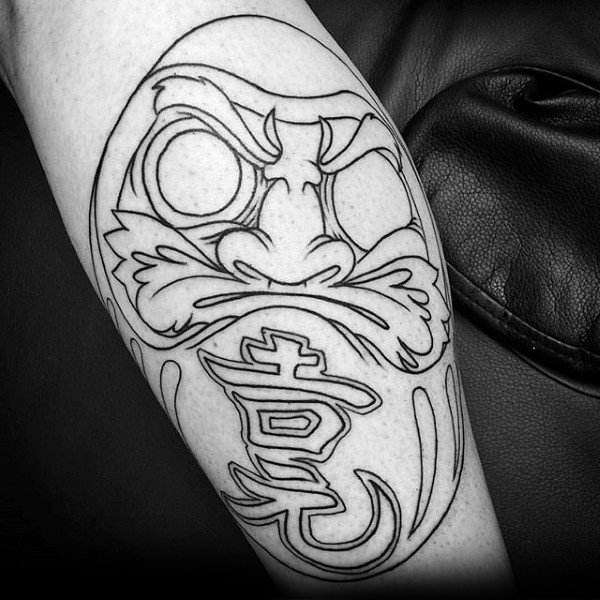 Black Ink Outline Mens Daruma Doll Arm Tattoo