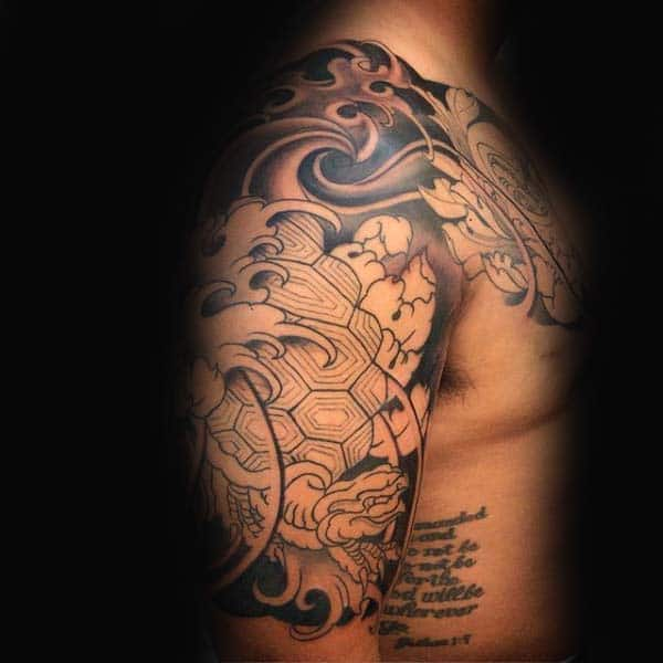 Black Ink Outline Mens Japanese Turtle Half Sleeve Tattoo