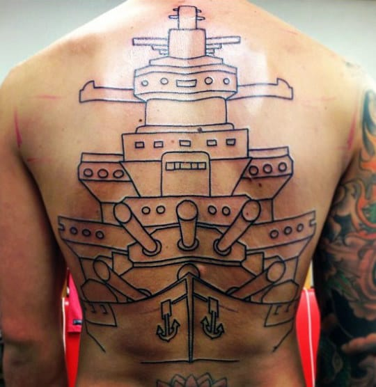 Black Ink Outline Navy Battleship Mens Full Back Tattoos