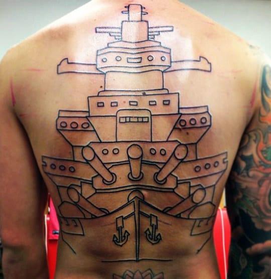 Black Ink Outline Navy Battleship Mens Full Back Tattoos