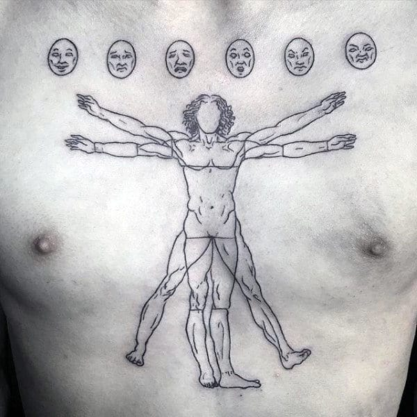 Black Ink Outline Of Vitruvian Man Guys Upper Chest Tattoo