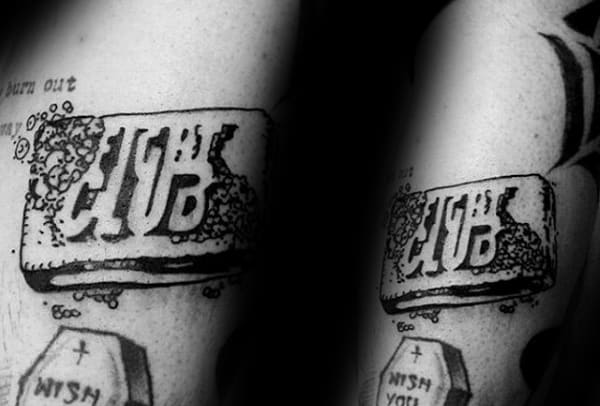 Black Ink Outline Old School Mens Fight Club Soap Bar Tattoos