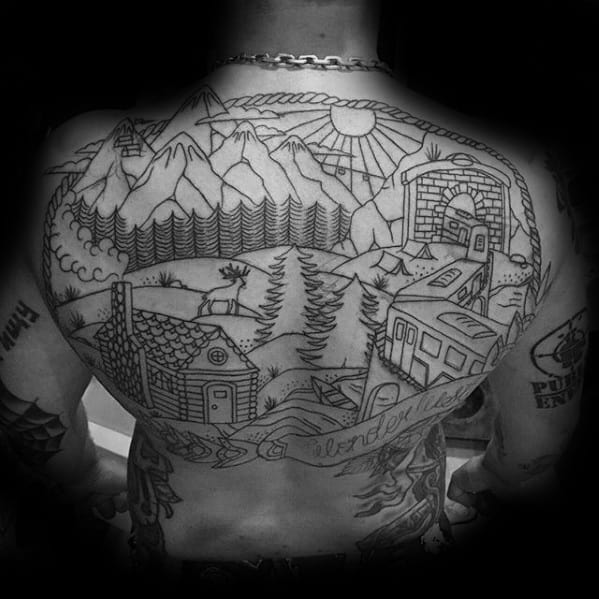 Black Ink Outline Outdoors Themed Mens Wanderlust Full Back Tattoos