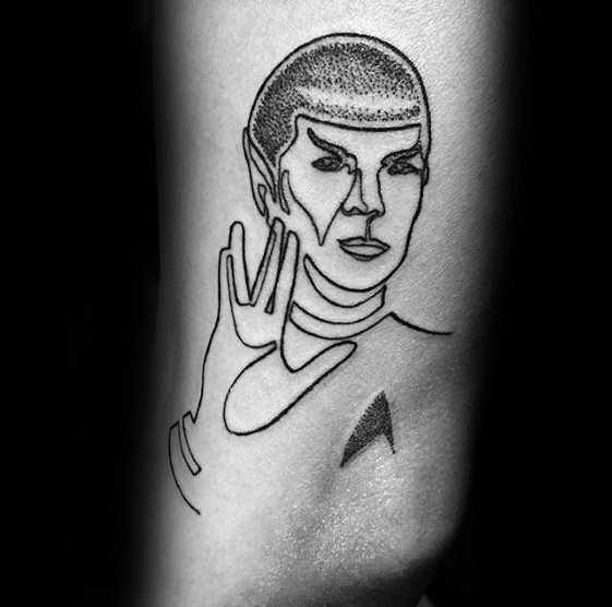Black Ink Outline Outer Arm Male Tattoo With Star Trek Design