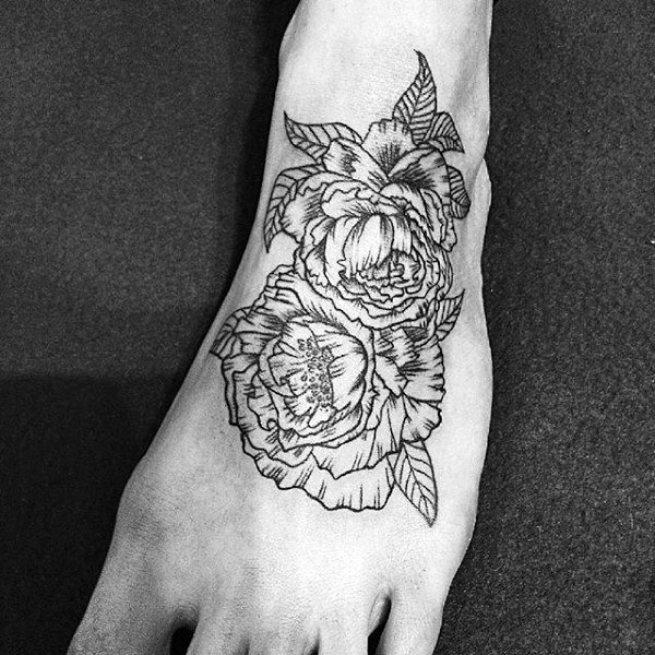 Black Ink Outline Peony Mens Foot Tattoos