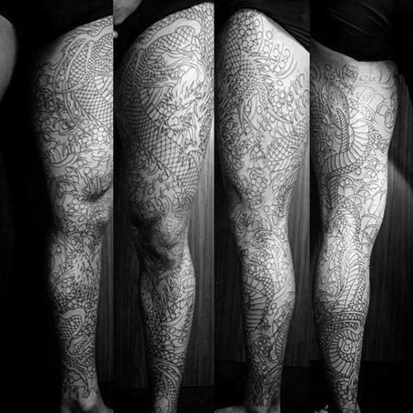 Black Ink Outline Retro Dragon Full Leg Mens Tattoos