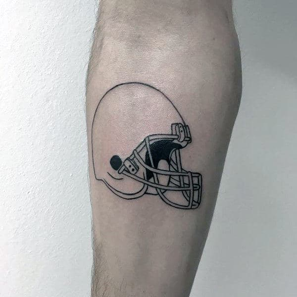 Black Ink Outline Simple Guys Football Inner Forearm Tattoos