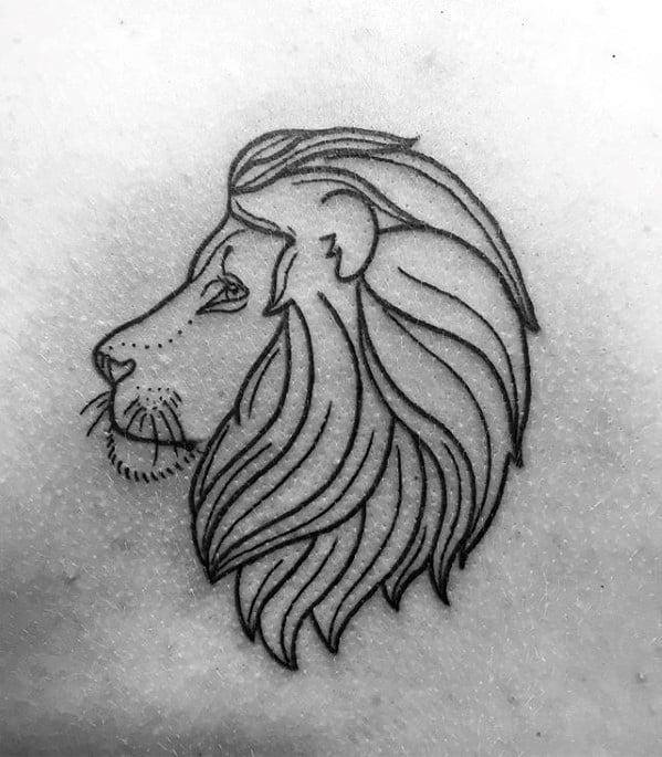 Black Ink Outline Small Chest Lion Mens Tattoos