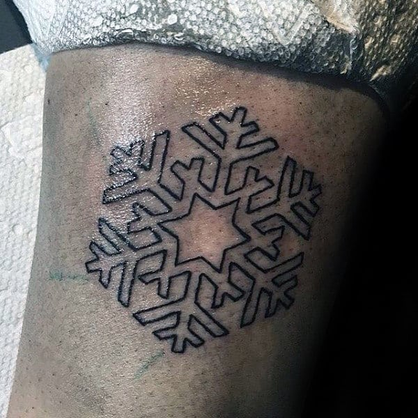 Black Ink Outline Small Simple Guys Snowflake Tattoos