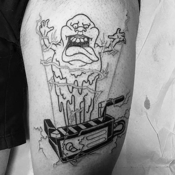 Black Ink Outline Thigh Guys Tattoo Ideas Ghostbusters Designs
