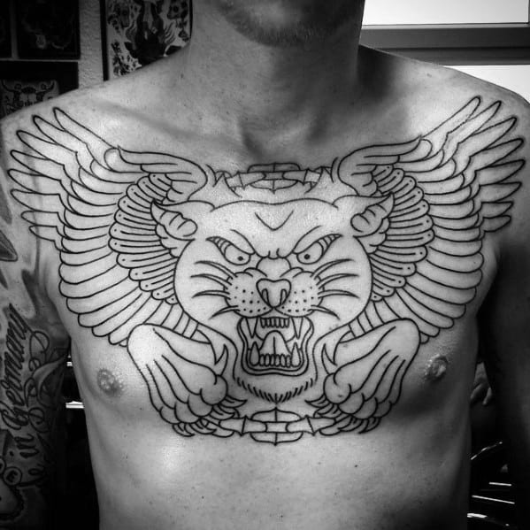Black Ink Outline Traditional Panther Wings Mens Upper Chest Tattoo