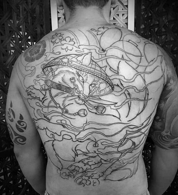 Black Ink Outline Unique Guys Kitsune Back Tattoo Ideas